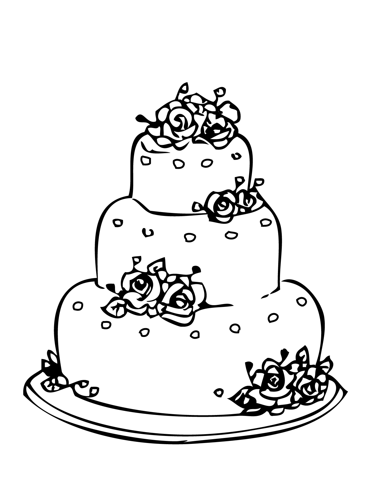 Drawing Cake Colour Wedding Coloring Pages 2 Coloring Kids