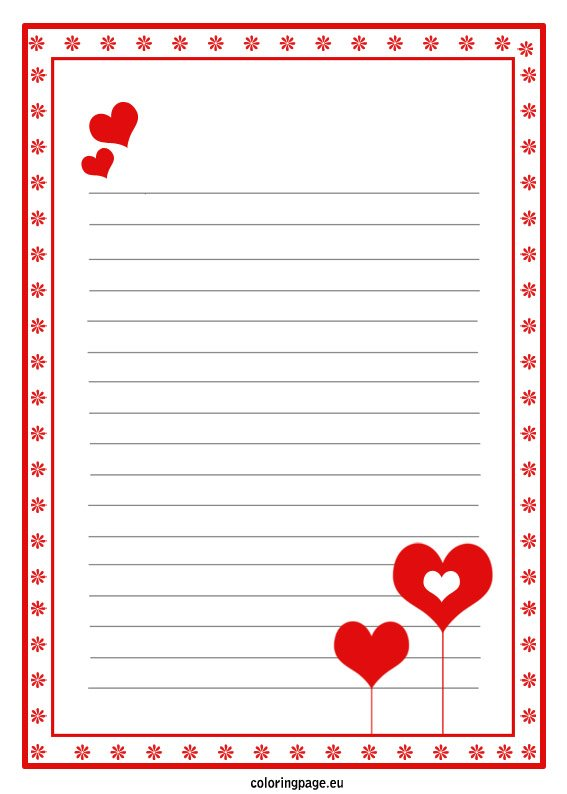 Love letter paper template \u2013 Coloring Page