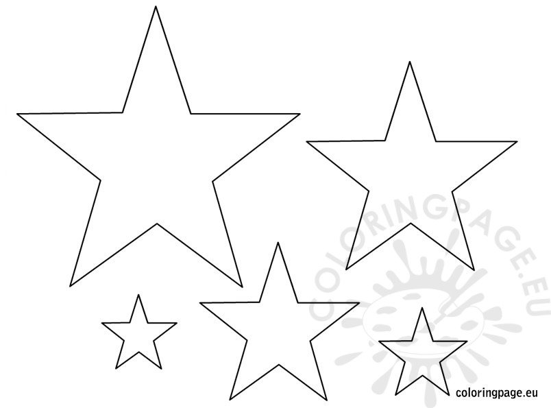 Small medium large star template Coloring Page - star template