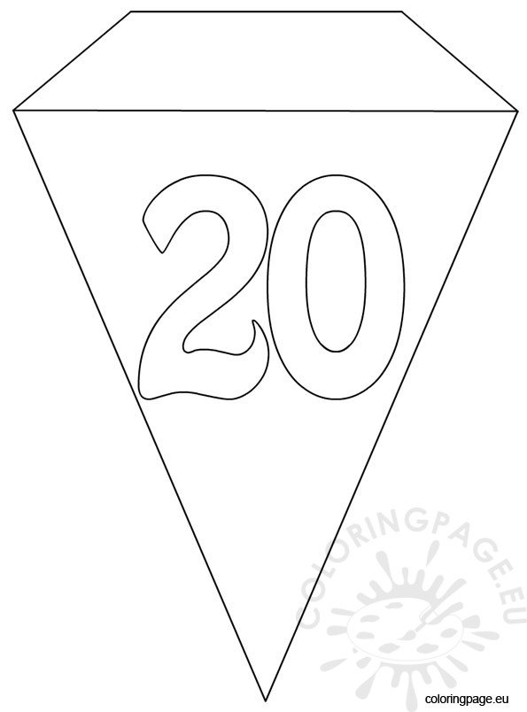 20th Party Flag Banner Template Coloring Page