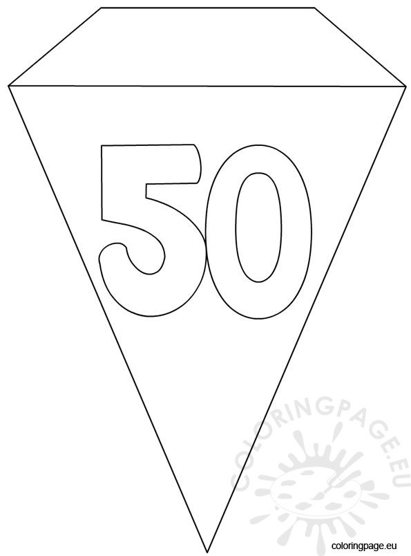 50th Party Flag Banner Template Coloring Page