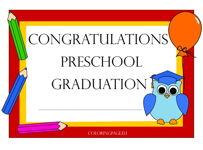 Preschool Graduation Certificate Coloring Page - graduation certificate