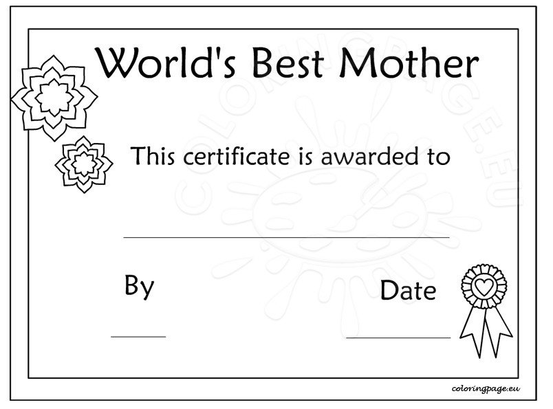 Printable mother\u0027s day certificate template \u2013 Coloring Page