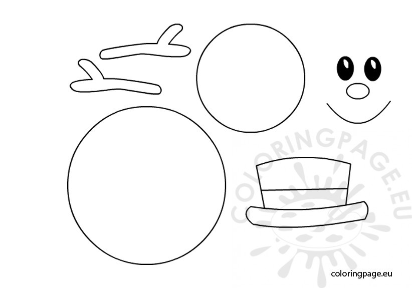 Snowman template \u2013 Coloring Page