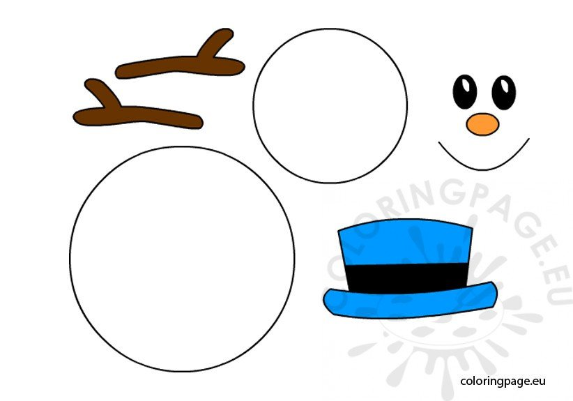 Snowman template printable \u2013 Coloring Page