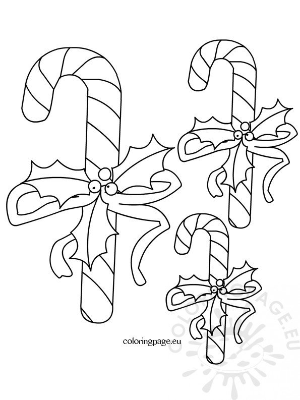 Candy Cane Template \u2013 Coloring Page