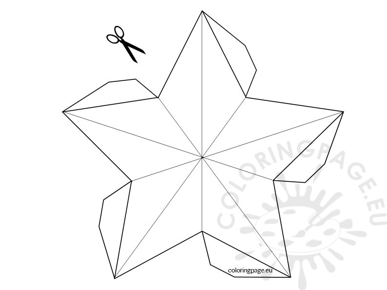 3D Star template Coloring Page - star template