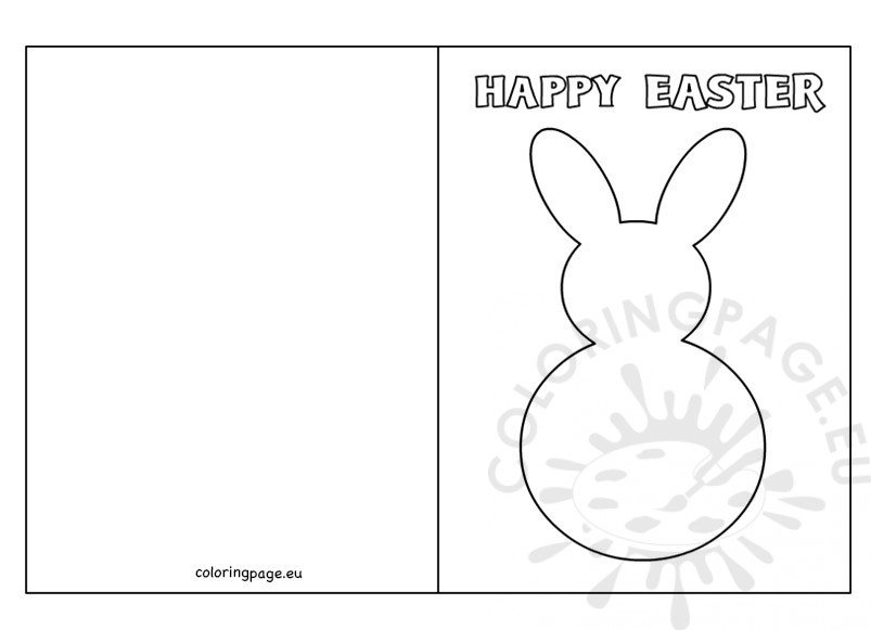 Easter Bunny Card Template \u2013 Coloring Page