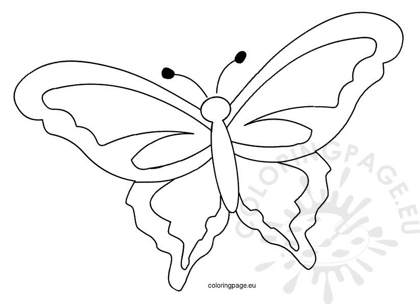 Printable Spring Butterfly Template Coloring Page - butterfly template