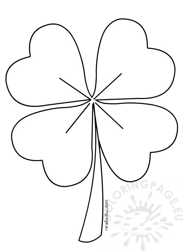 Four Leaf Clover vector Coloring Page - shamrock template