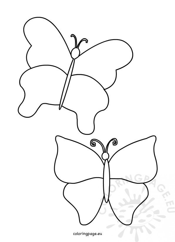 Simple Butterfly Template Coloring Page - butterfly template