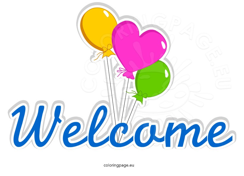 Colorful Welcome word with balloons \u2013 Coloring Page