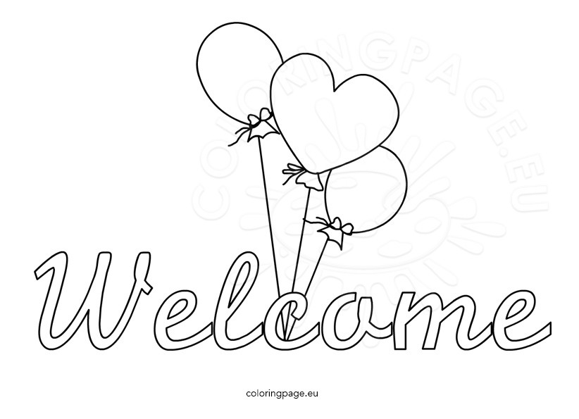 Welcome word with balloons \u2013 Coloring Page