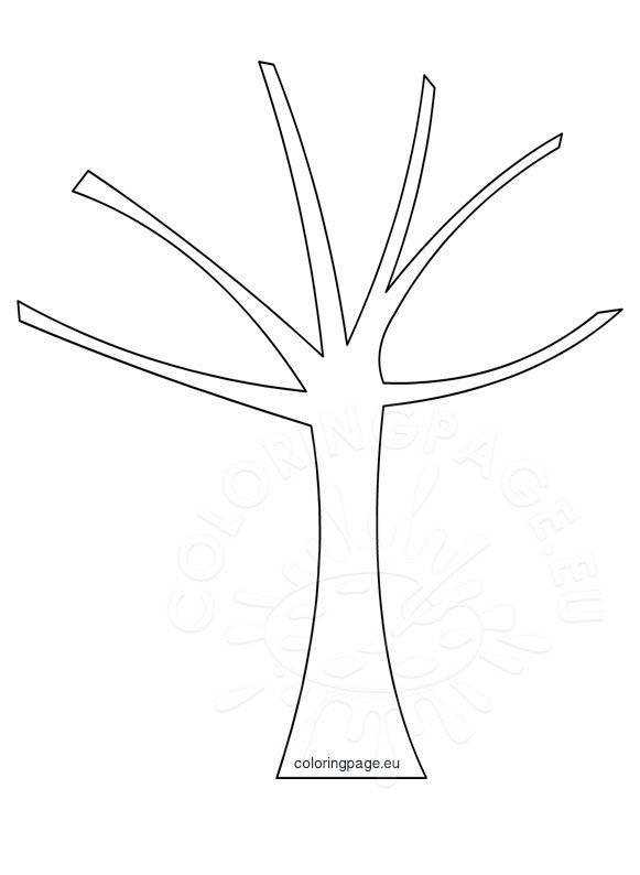 Printable Autumn tree template Coloring Page