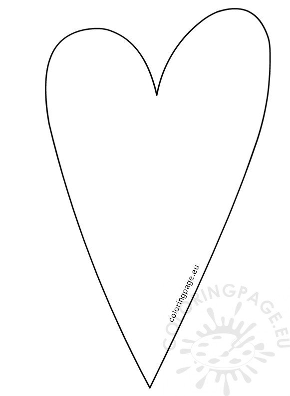 Country Long Heart Template \u2013 Coloring Page