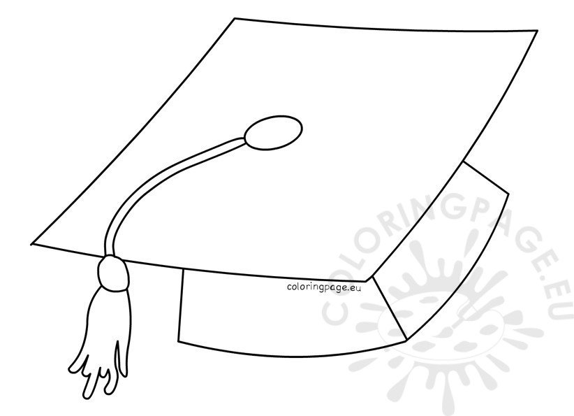 Printable Graduation Hat Template \u2013 Coloring Page
