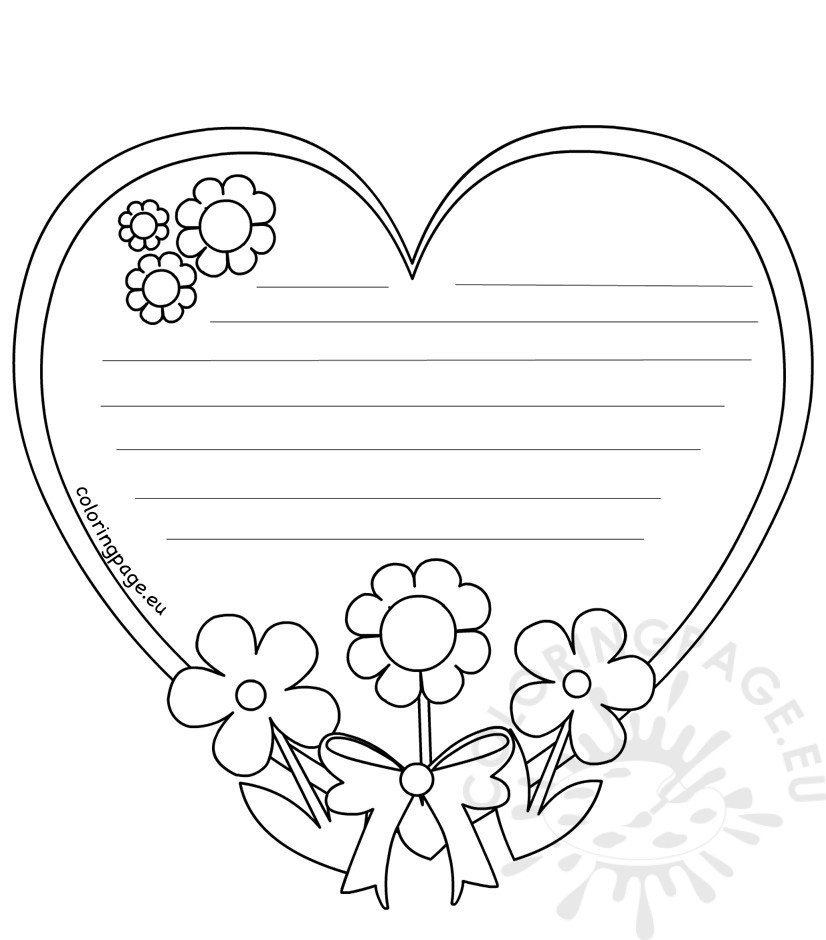 Heart writing template Mothers Day \u2013 Coloring Page