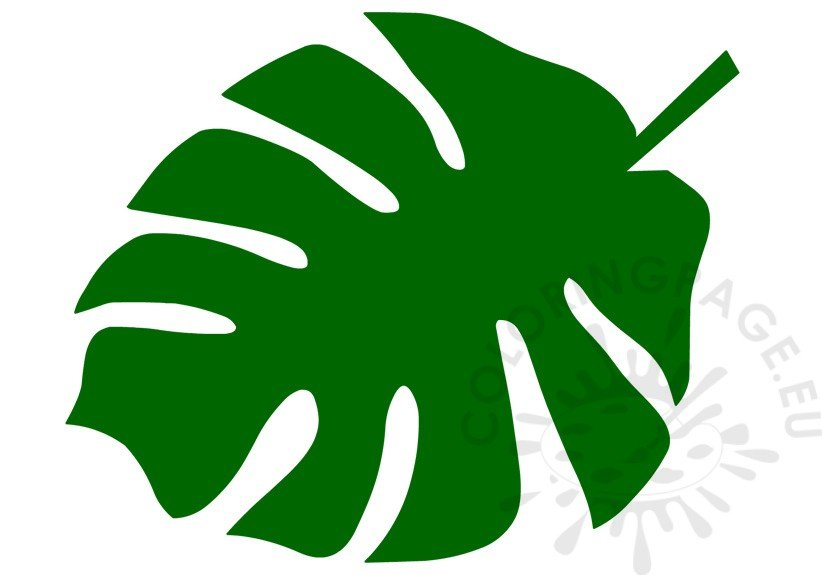 Green Tropical Leaf Template \u2013 Coloring Page