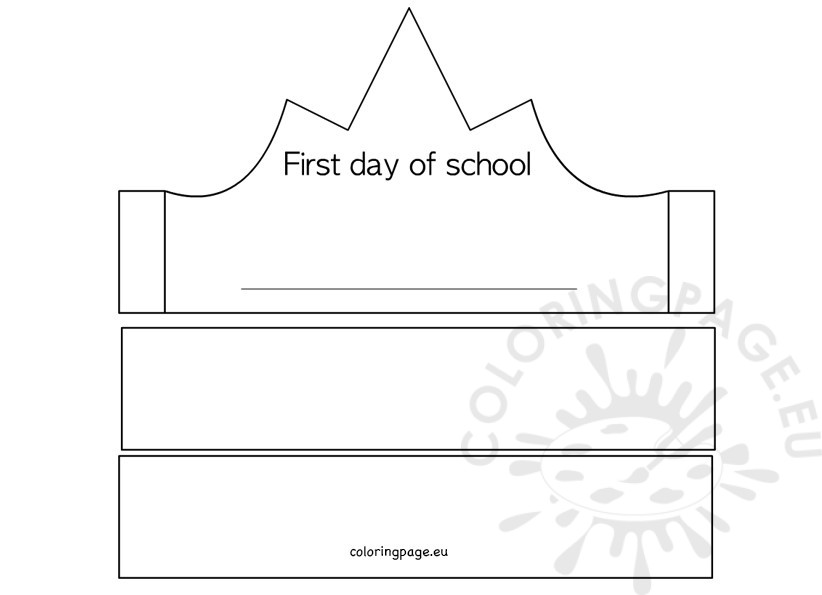 First Day of School Crown template \u2013 Coloring Page