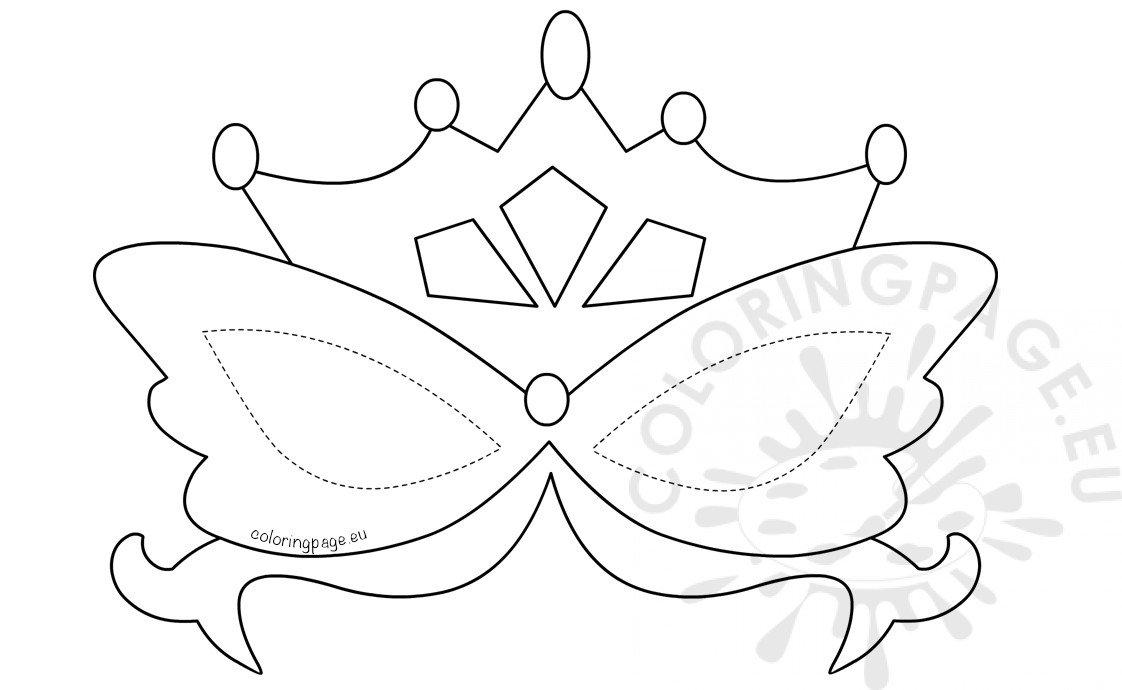 Printable Mardi Gras Mask template \u2013 Coloring Page