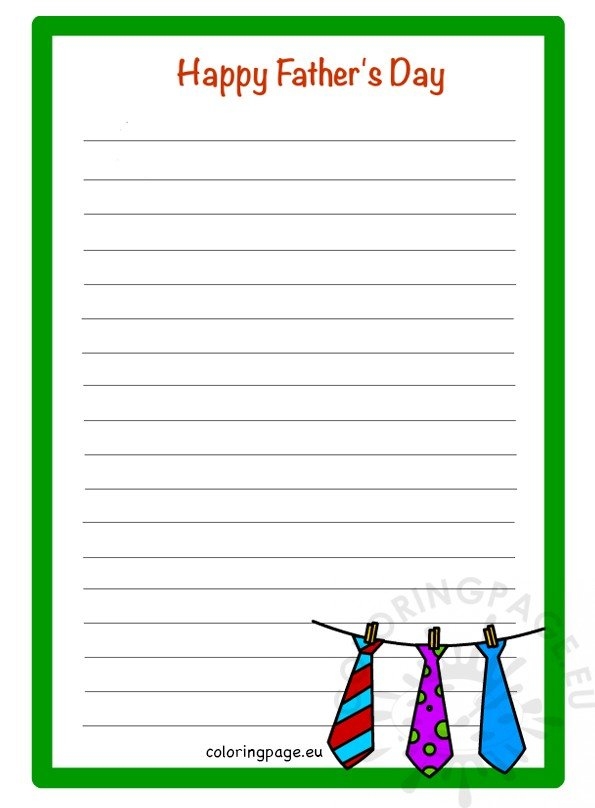 Father\u0027s Day Printable writing paper \u2013 Coloring Page