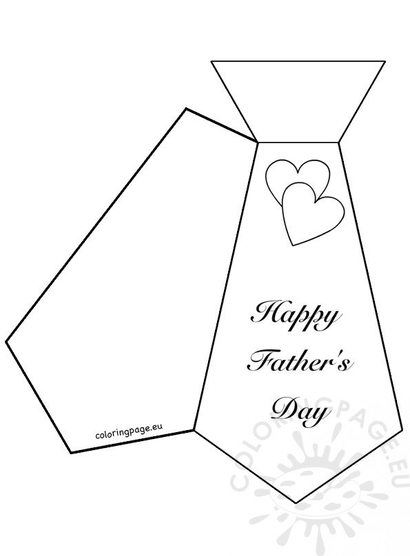 Necktie Father\u0027s Day card template \u2013 Coloring Page