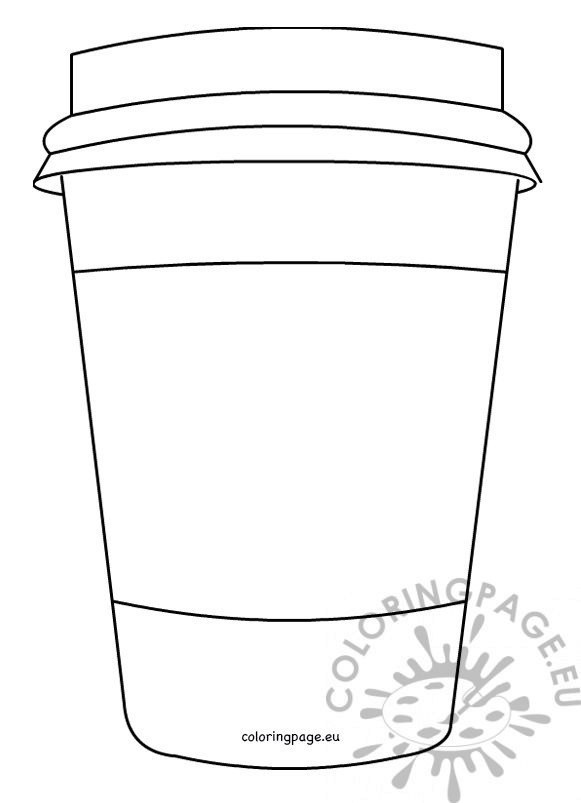 Closed Coffee paper cup pattern printable \u2013 Coloring Page