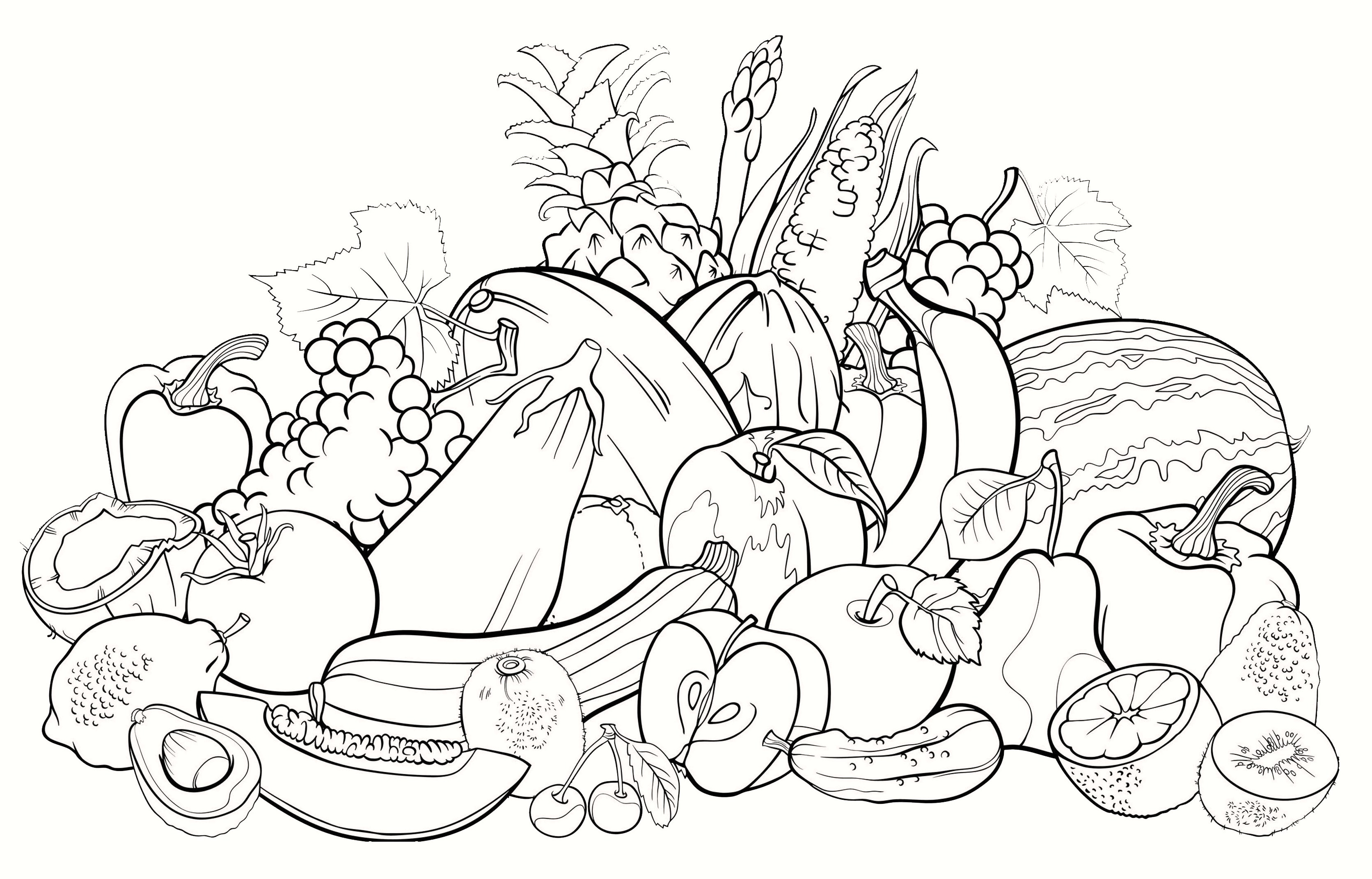 coloring pages fruit basket