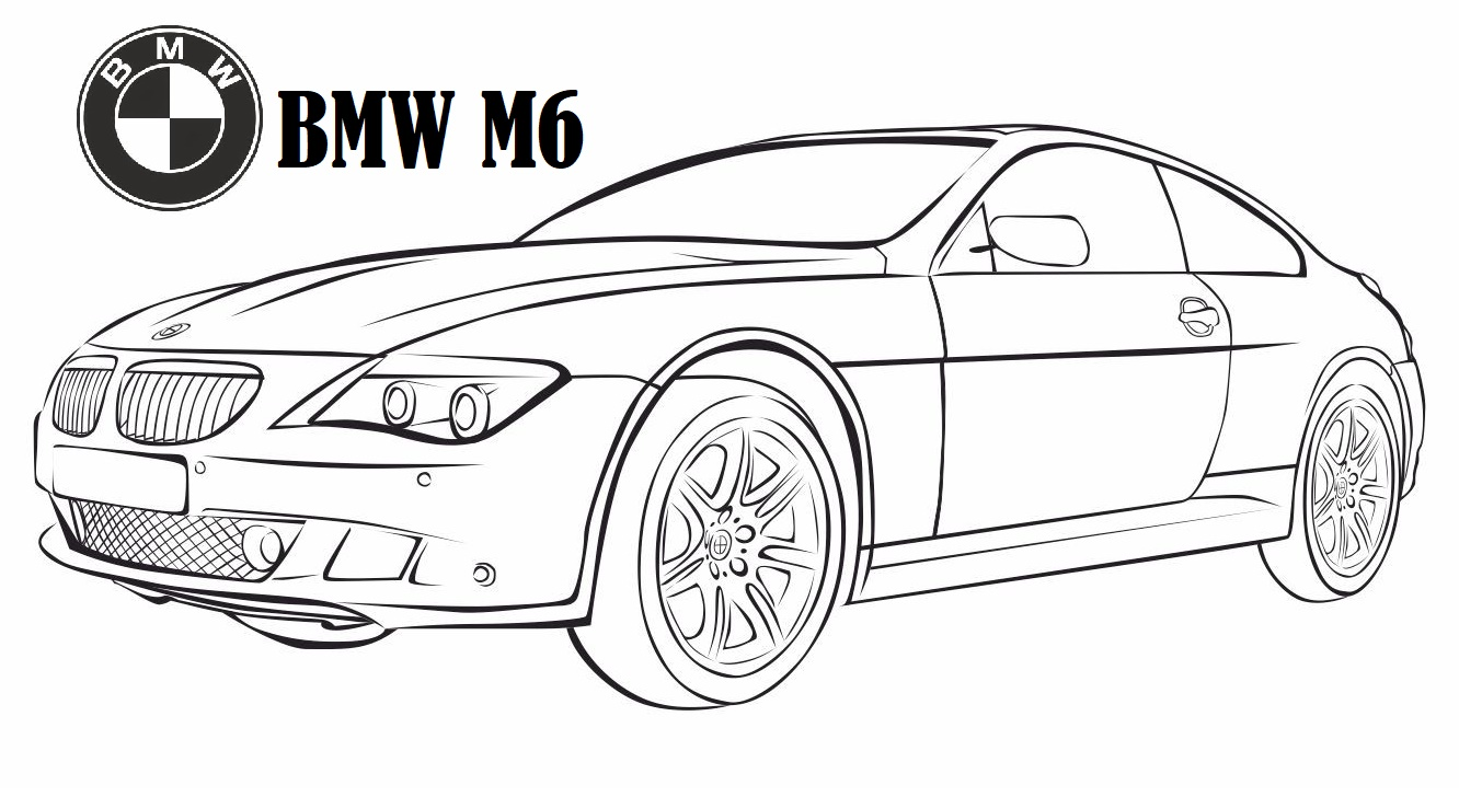 bmw m6 luxury car coloring page
