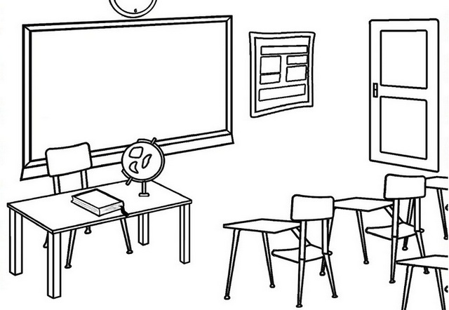 classroom with tables and chairs coloring page