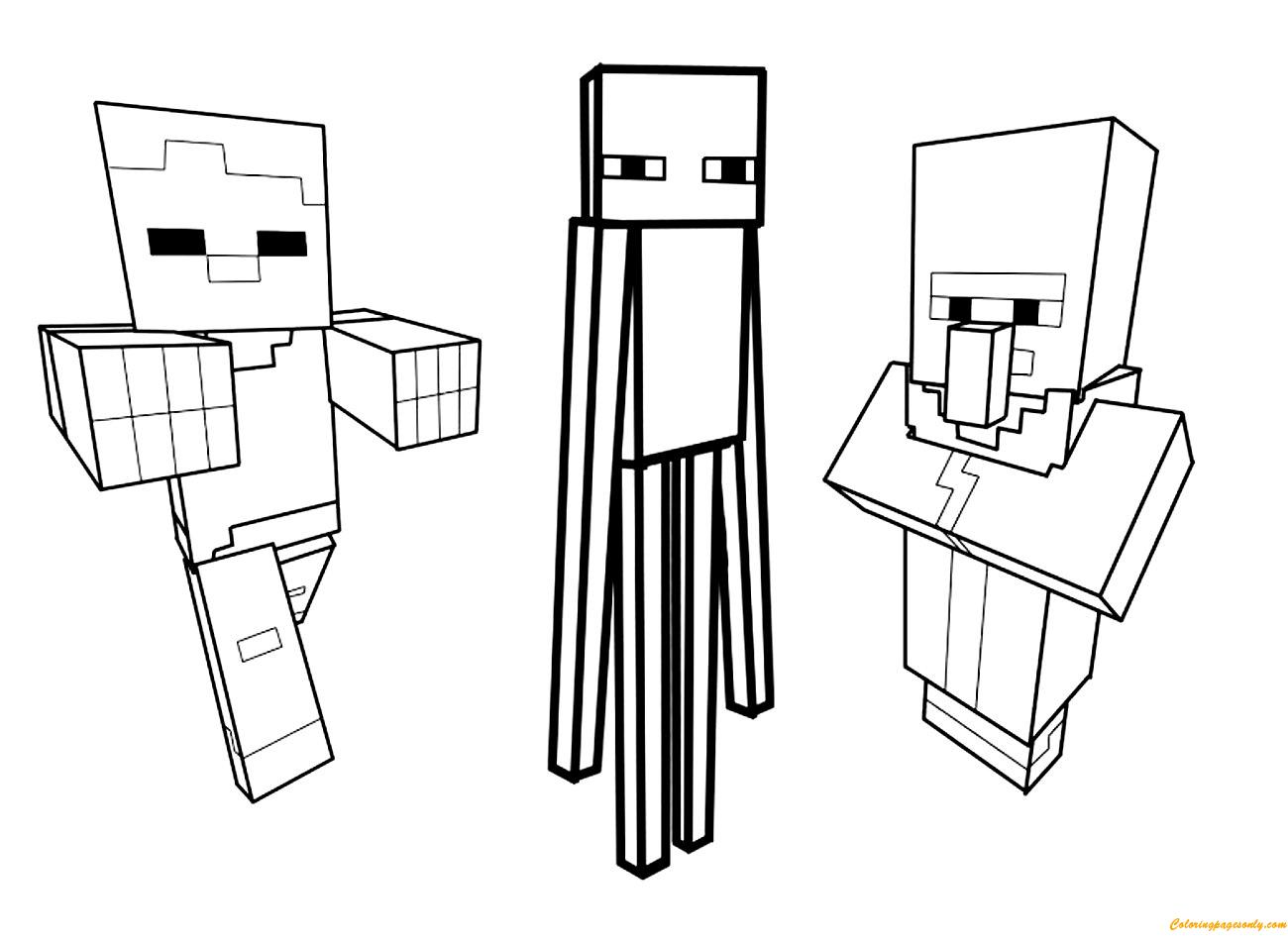 Minecraft Ausmalbilder Gratis : Minecraft Character Drawing Template Costumepartyrun