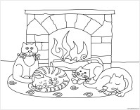 Winter Scenes With Cute Animals Coloring Page - Free ...