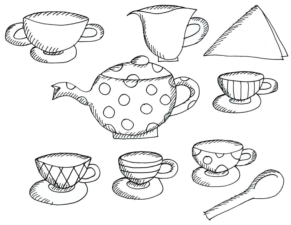 tea party coloring pages preschool