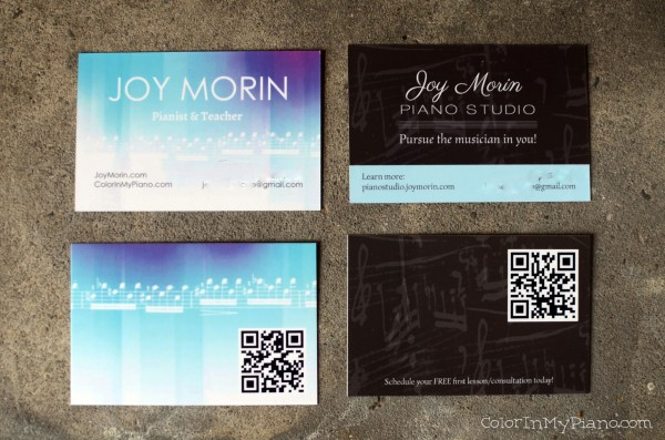 My New Business Cards - Color In My Piano