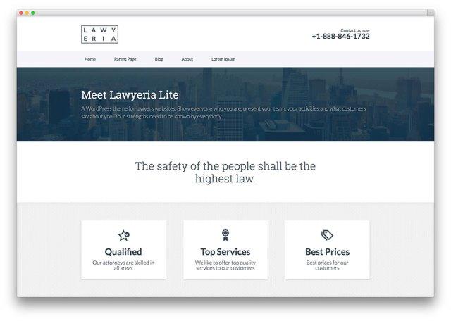 lawyeria - free WordPress lawyer theme
