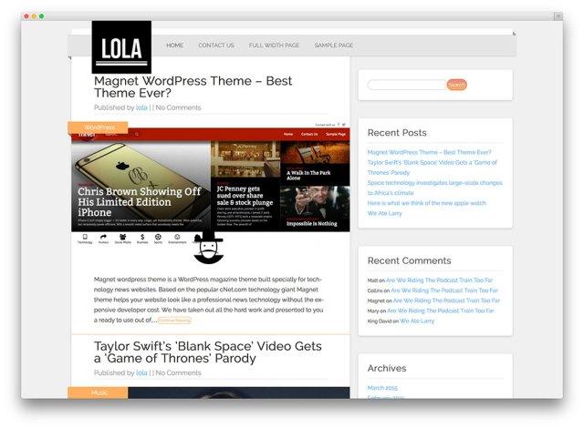 lola - minimal and free wordpress blog theme