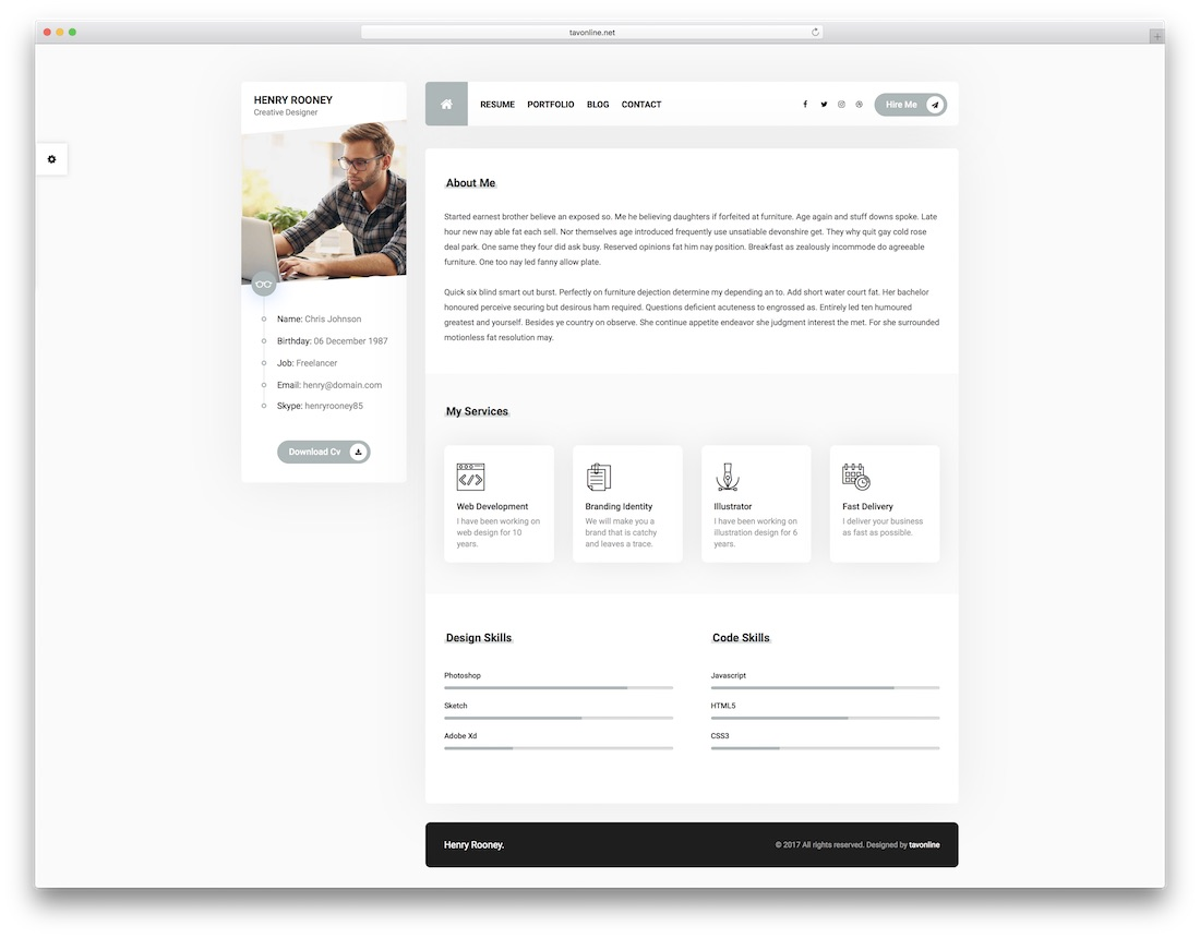 mat vcard resume template free download