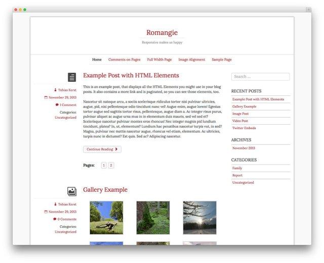 romangie - blog theme