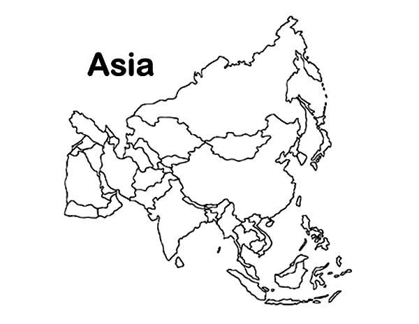 Asia Continent In World Map Coloring Page - Download  Print Online