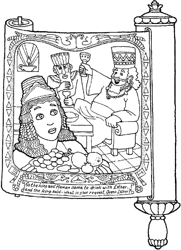 Picture Of Purim In Scroll Coloring Page - Download  Print Online