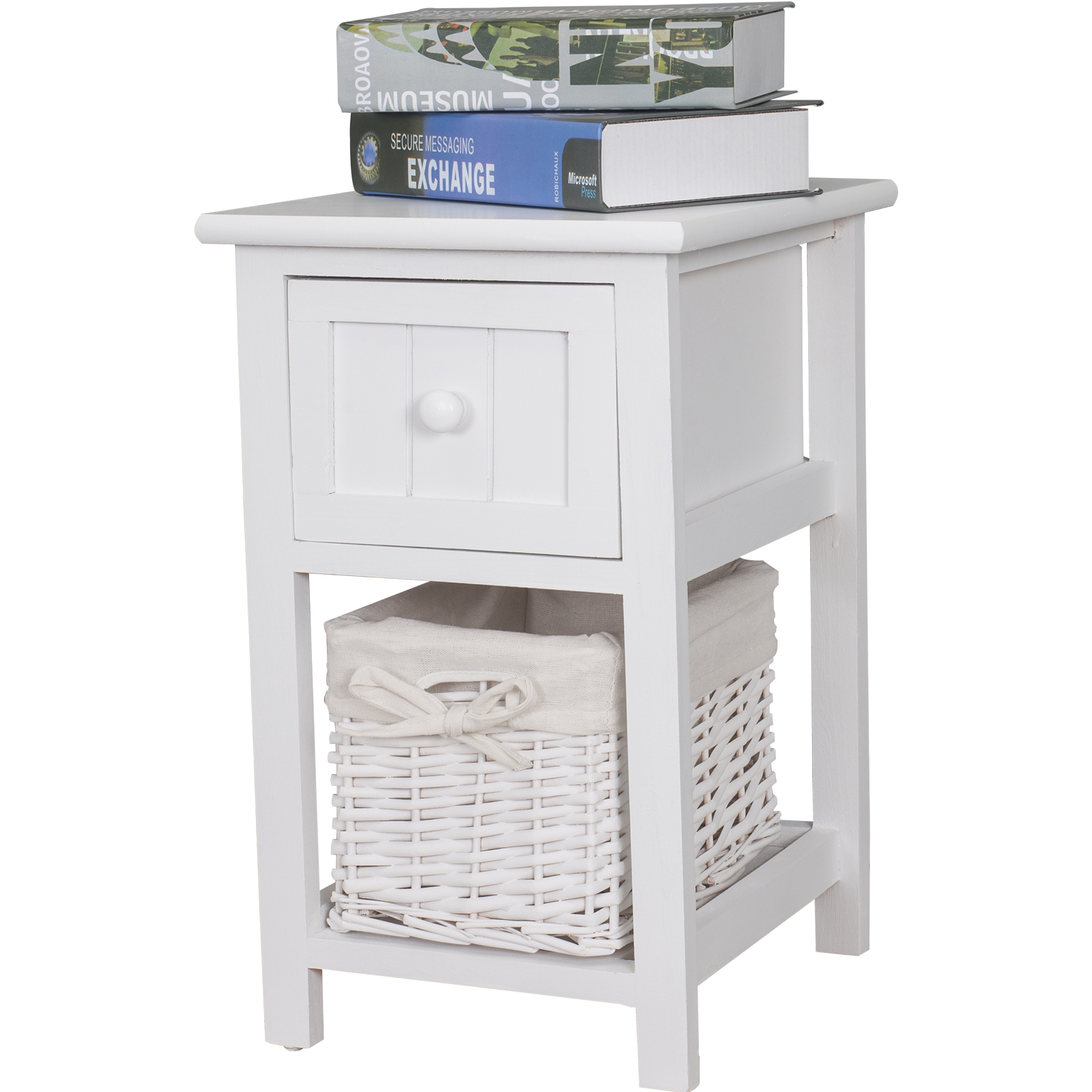 White Bedside Drawers Brand New White Shabby Chic Tall Bedside Unit With Wicker