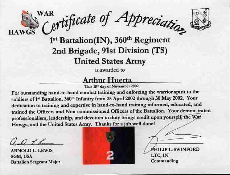 Army Certificate of Appreciation