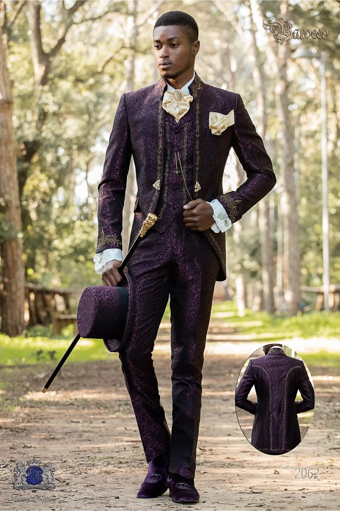 Bräutigam Vintage Look Baroque Groom Suit Vintage Napoleon Collar Frock Coat In Purple Jacquard Fabric With Golden Embroidery And Crystal Clasp