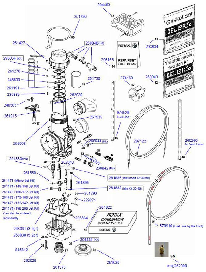 15 Rotax Main Jet, Individual 115-131  Rotax Carburetor Parts