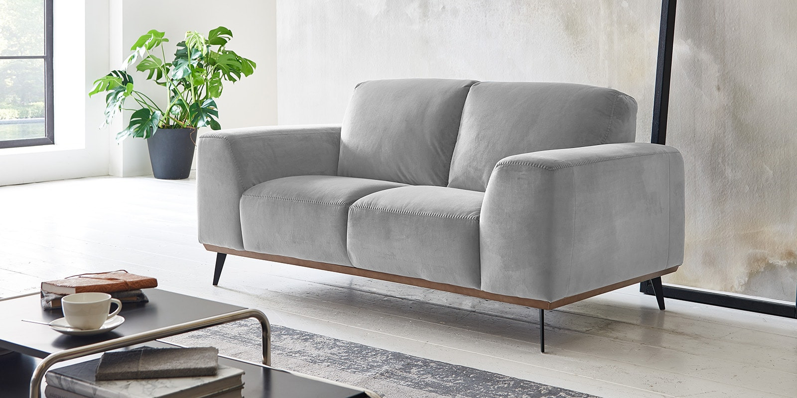 2 Sitzer Couch Samt Barcelona Comfort2home