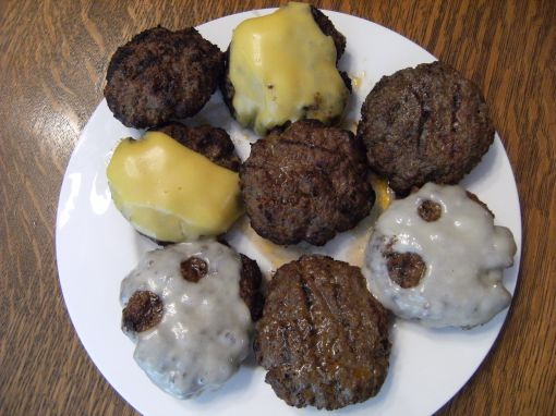 Butter burgers with an assortment of cheeses - Get the recipe for these butter burgers at ComfortablyDomestic.com