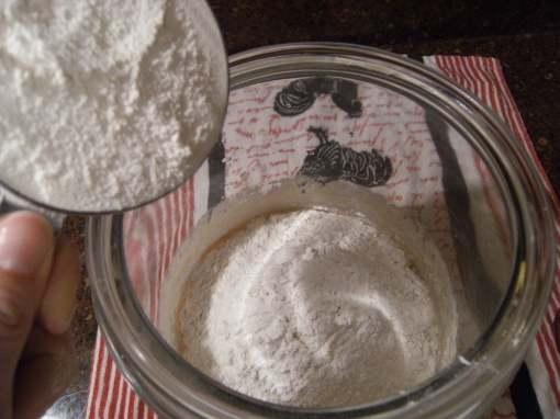 homemade sourdough starter-scooping