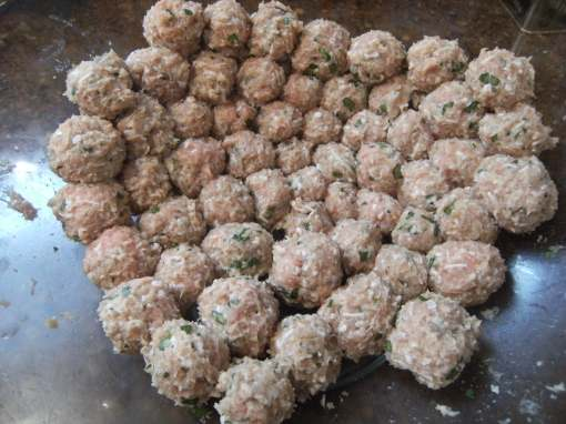 turkey meatballs, uncooked