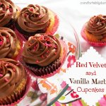 Sweets for Your Sweetie: Red Velvet and Vanilla Marble Cupcakes with Milk Chocolate Buttercream