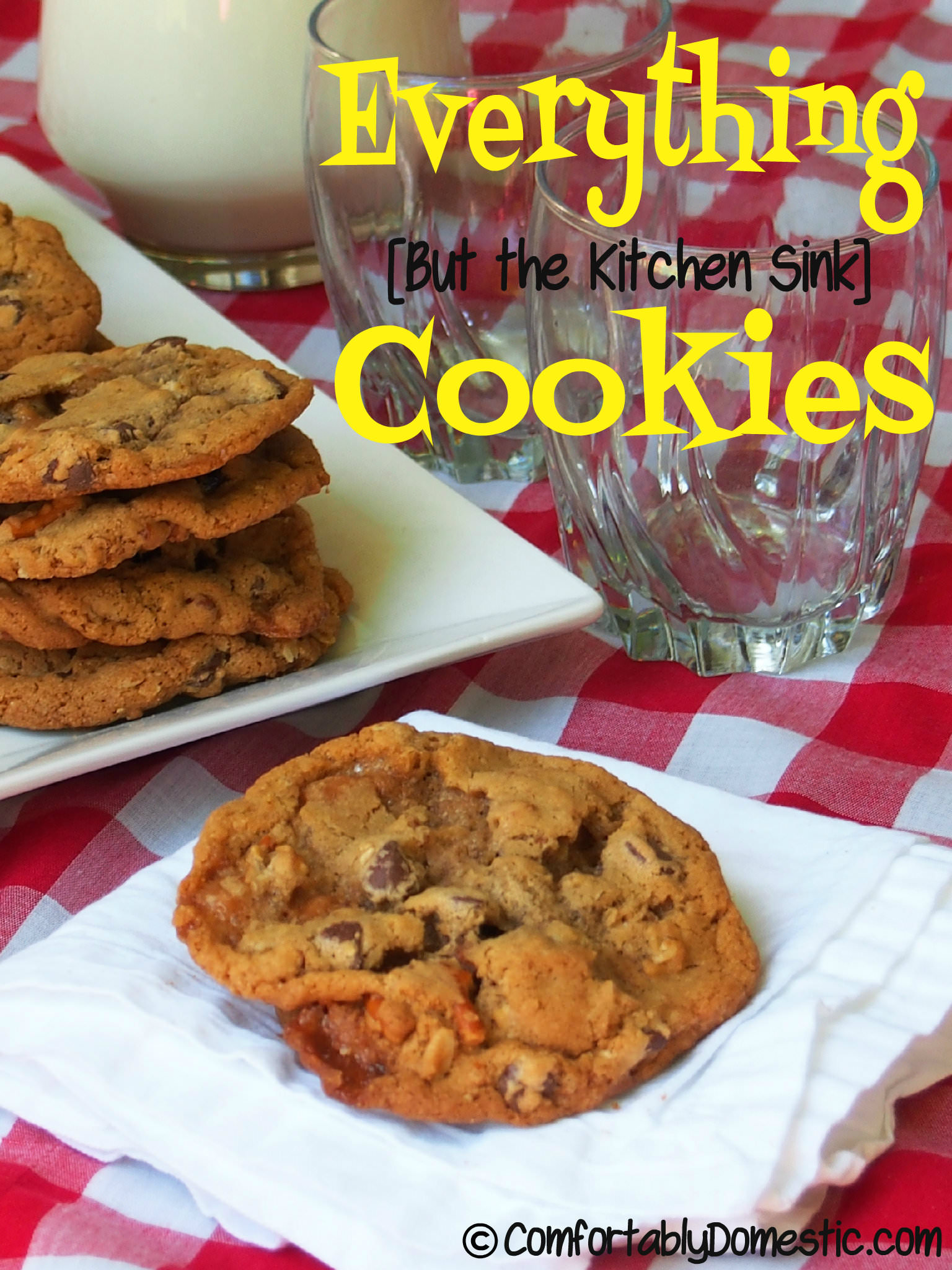 everything cookies kitchen sink cookies Everything cookies contain semi sweet chocolate chips crushed salted pretzels dried cherries chewy